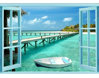 Window to Paradise Beach (Glow in the dark Canvas)