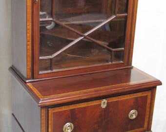 Antique English Slim Mahogany Inlaid Secrétaire Bookcase or Library Bookcase or Cabinet