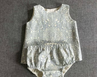 Open-back Tank and Bloomers - Blue Crystal