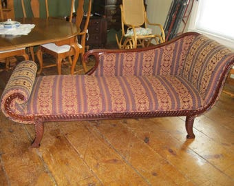 Mahogany Framed Fainting Sofa Couch Chaise Lounge - #00120