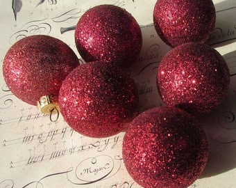 6 Germany Vintage Christmas Ornament Classic Red Glitter Balls Hand Blown Glass Box C