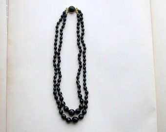 "vintage jet black glass beaded necklace, made in Austria . double strand necklace 16.5"" long . Austrian crystal faceted beads"