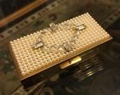"Vintage Gold Gilt Pill BOX / 1950s Trinket Box / Pearls & RHINESTONES Pillbox / WIESNER of Miami ""Trickettes"""