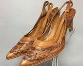 AWESOME Hand CARVED Leather Heels, Vintage 1960's ROCKABILLY High Heel Shoes, Size 10, *As Is