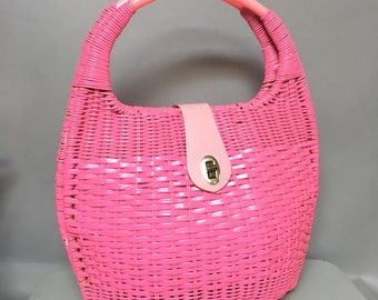 Huge Bright PINK 60's MOD Handbag, 1960's Purse with Lucite Handle, STATEMENT Piece