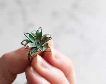Vintage Metal Patina Flower Adjustable Ring | Summer Party Jewelry