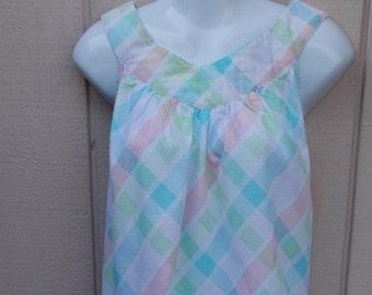 Vintage 70s to 80s Pastel Plaid Smock Sundress / House Dress // Sz Med