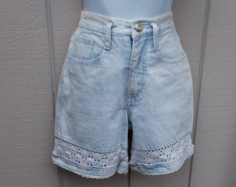 "90s High Waist Shorts with cotton lace trim by L.A. Blues / Pale blue acid wash denim // sz xs -  25"" - 26"" waist"