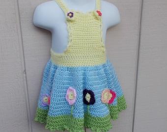 Vintage handmade Little Girl's Pinafore Jumper Dress / Handmade Crocheted Blue Green and Yellow // Toddler size 2 3 4