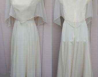 Vintage 70s Ivory White Dress with Flutter Cape Neckline / Scarf Hem Wedding Dress // sz sml - Med