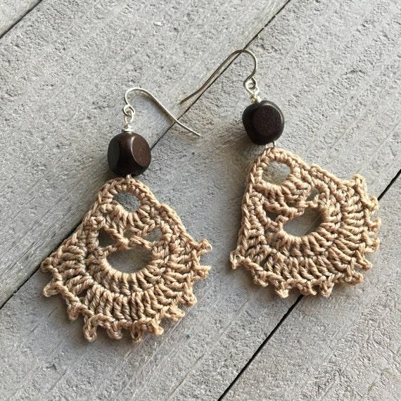 Boho Earrings Crochet Earrings Hippie Gypsy Boho Jewelry Gift for Her Modern Bohemian Statement Earrings Festival Jewelry in Flaxen Brown