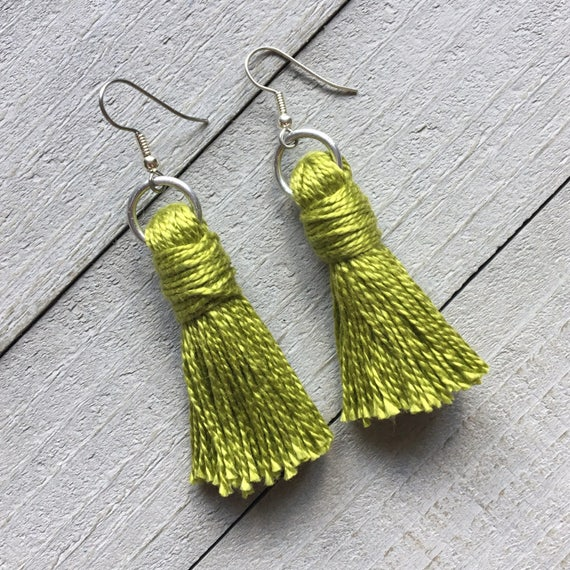 "Green Tassel Earrings - 2"" Simple Cotton Tassel - Dangle Earrings, Lightweight Summer Style, Gift for Her"