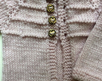 Hand Knit Newborn Sweater of Soft Pink Wool