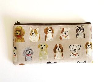 Flat  zipper pouch  -love dogs