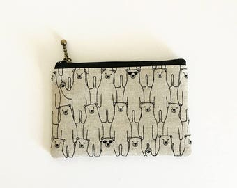 Mini zipper pouch  - standing bear