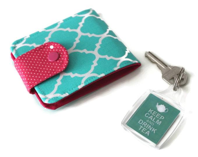 Womens Wallet Aqua Scallops / Thin Minimalist Womens Billfold / Vegan Cotton