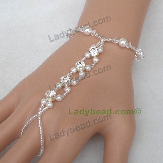 HJ21 Hand Bracelet Rhinestone Pearl Ladybead Bling for your hand! Made with Genuine Swarovski Elements