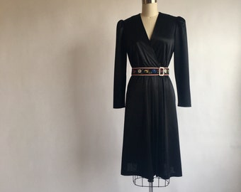 1970s Vintage Black Disco Dress