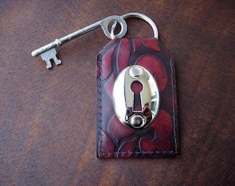 Embossed Leather Key Fob with Keyhole and Vintage Skeleton Key - Claret Damask Leather Key Chain