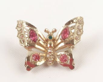 Gold Butterfly Brooch Pin with Pink, Clear, and Emerald Green Rhinestones - Figural Brooch, Insect Wings - Signed Coro - Vintage 60s