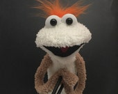 White and Tab Swanky Sock Puppet, Hand and Rod Puppet, Funny Monster Puppet, Photo Booth Prop, New Best Friend