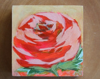 Single rose floral painting 4x4x1.5""