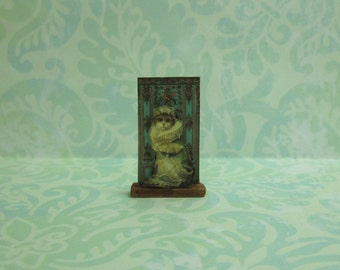 Dollhouse Miniature Cat with Ruffles Stand Up Decoration