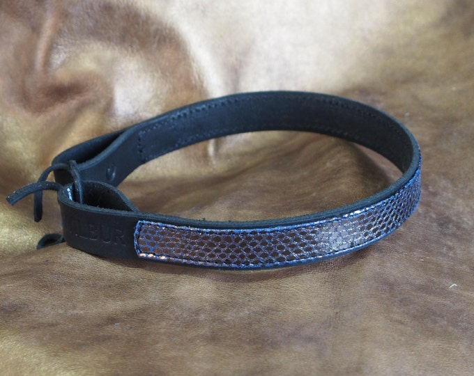 Pewter Python Leather Show Brow Band