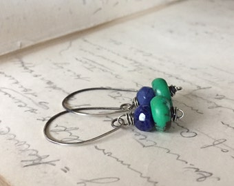 Summertime earrings. Turquoise and Sodalite sterling silver earrings.