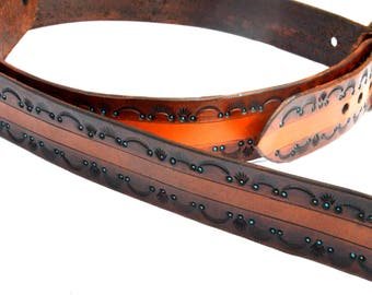 Leather Guitar Strap Tooled Southwest Design