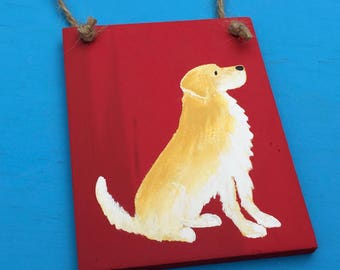 Mini Golden Retriever Handprinted Wood Sign
