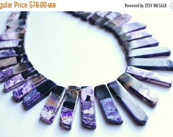 FLASH SALE The Times Square- Purple and Black Agate Statement Necklace