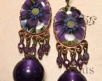 Happy  Purple Flower Chandelier Earrings