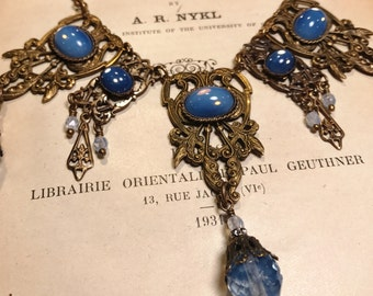 Vintage Inspired Art Nouveau Opal Blue Vintage Glass and Antique Brass Filigree Statement Necklace