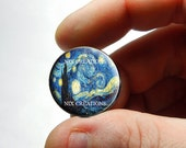 Stary Night VanGogh Glass Cab Cabochon 25mm 20mm 16mm 12mm 10mm or 8mm - Design 3  - for Jewelry and Pendant Making