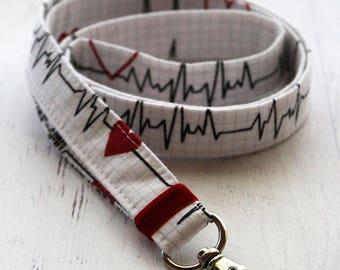 Medical lanyard - nurses lanyard - doctors lanyard - lanyard - fabric lanyard - neck lanyard - ID badge holder - key lanyard - heart print