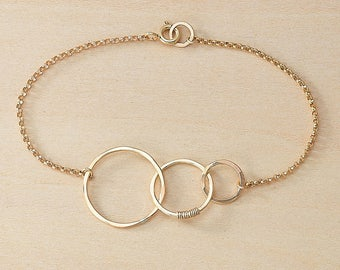 Three Hammered Circles Linked in Sterling Silver or Gold Filled, Hammered Wire Circles, Shoot For the Moon Bracelet, Jewelry About Dreaming