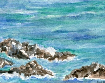 Aruba seascape watercolor painting original 4 x 6 inches, original ocean art, beach watercolor painting