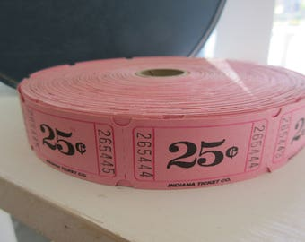 12 Vintage PINK 25 Cent Carnival Tickets for altered art mixed media