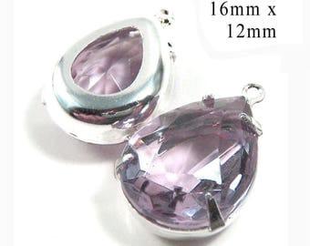 Light Amethyst Vintage Glass Beads - 16x12 Teardrop - Light Purple Earrings or Pendants - Sheer Glass Gems - Jewelry Supply - One Pair