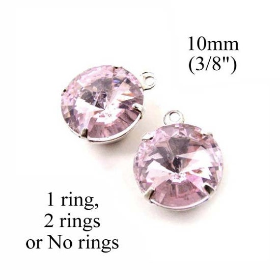 pink glass rhinestone beads