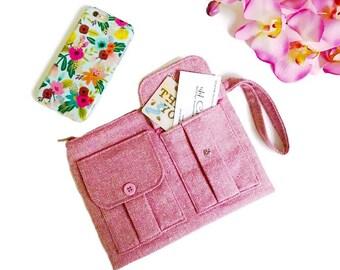 Pink Tweed Wristlet, iPhone Wristlet, Wool Handbag, Wallet Wristlet, Wristlet Wallet, Wristlet Purse, Pink Wallet