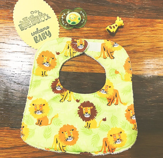 Lions Baby Bib, Baby Shower Gift, Handmade Boy Bib, Infant Bib, Drool Bib
