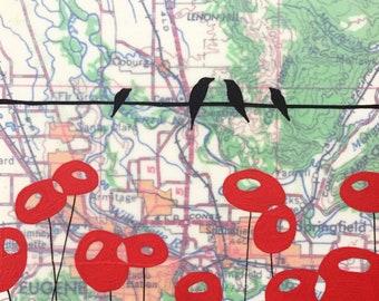 Eugene / 8 x 8 Map Painting / Eugene Art / Oregon Art / Map Art / Modern Decor / Bird Art / Rachel Austin Art / Modern Nursery
