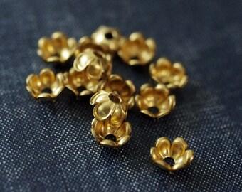 Six Petal 9mm Blossom Bell Brass Bead Caps - 12pcs - Raw Brass - Rare Vintage Brass - Floral Bead Cap - Flower Bead - Bell Flower Bead Cap