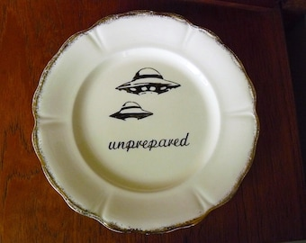 UFO Unprepared hand painted vintage china dinner sized plate with hanger recycled humor new planets aliens decor display