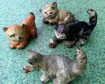 Antique 1910s Dollhouse Cats Cast Iron Figures Toys Miniatures