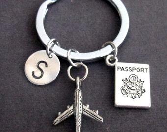 Personalized Passport traveling document, airplane keyring, Flight Attendant Gifts, Airplane Key Chain, Aviation Jewelry, Free Shipping USA