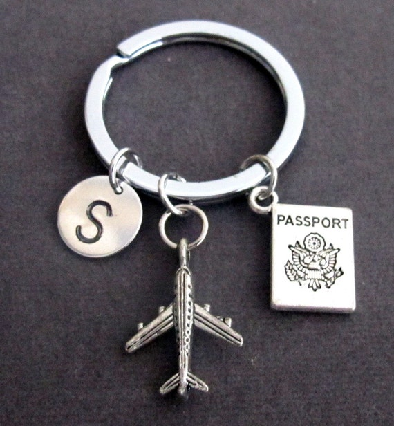 Personalized Passport traveling document, airplane keyring, Flight Attendant Gifts, Airplane Key Chain, Aviation Jewelry, Free Shipping USA