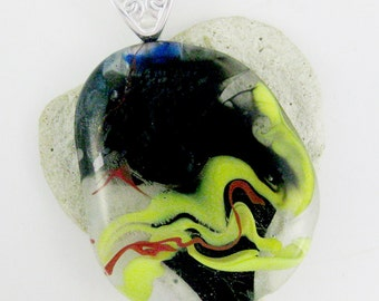 Beautiful Lime Green Black Clear Red Fused Glass - Dichroic Fused Glass Jewelry